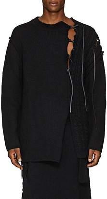 Yohji Yamamoto Men's Lace-Up Mixed-Knit Wool Oversized Sweater