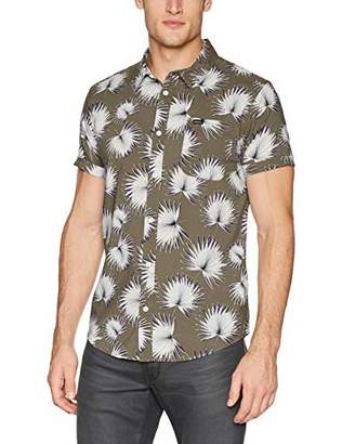 RVCA Men's Palms Short Sleeve Woven Button UP Shirt