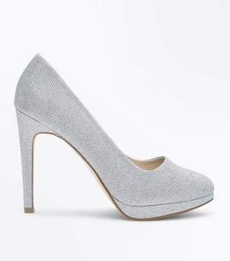 47e3d6d9c3a9 Silver Glitter Platform Heels - ShopStyle UK