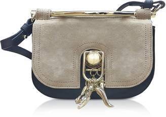 Carven Suede and Leather Misti Crossbody Bag