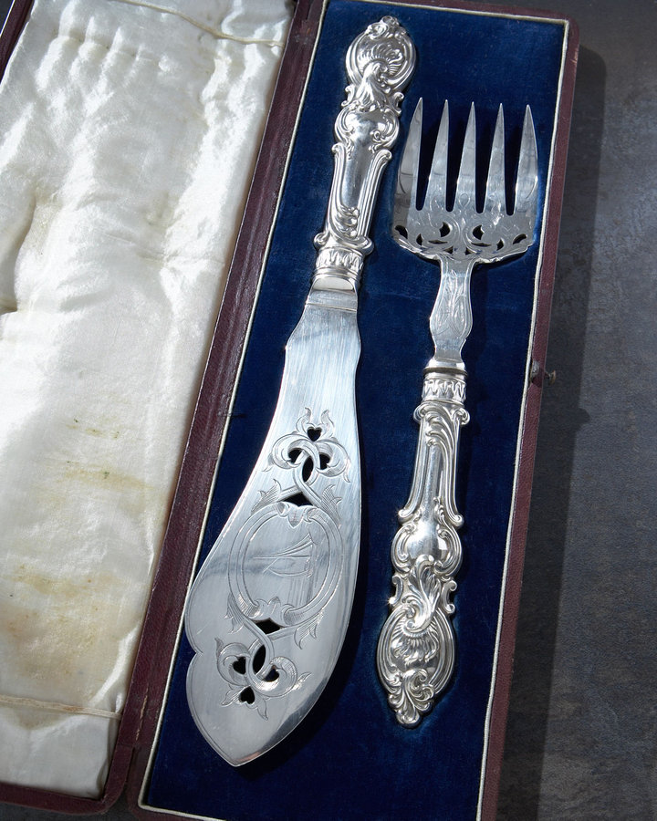 Horchow Two-Piece Schooner Fish Serving Set, c. 1880