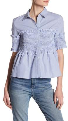 Romeo & Juliet Couture Shirred Pinstripe Blouse