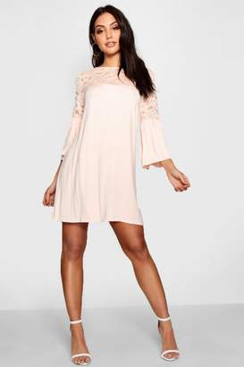 boohoo Lace Insert Swing Dress
