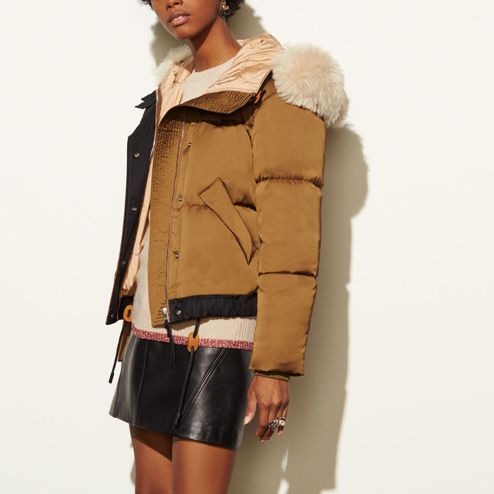 Coach   COACH Coach Icon Puffer Jacket With Shearling