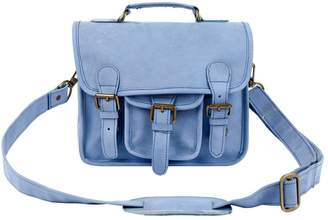 MAHI Leather - Mini Pastel Blue Suede Harvard Satchel Messenger Handbag