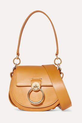 Chloé Tess Small Leather And Suede Shoulder Bag - Saffron