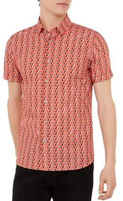 Ted Baker Pineles Pineapple Print Short Sleeve Sport Shirt
