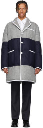Thom Browne Grey and Navy Down Sack Fit Overcoat