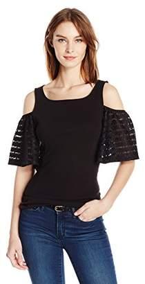 Three Dots Women's Cold Shoulder Top