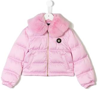 Versace fur collared jacket