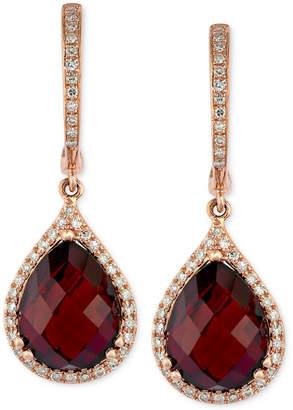 Effy Gemma by Garnet (8-1/3 ct. t.w.) and Diamond (1/3 ct. t.w.) Pear Drop Earrings in 14k Rose Gold