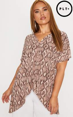PrettyLittleThing Plus Taupe Snake Print Button Front Short Sleeve Shirt