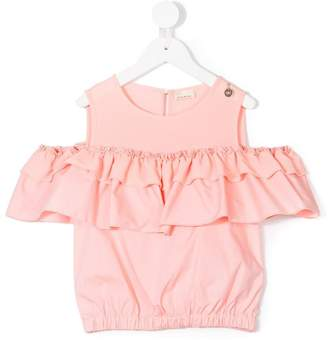 Elisabetta Franchi La Mia Bambina cold shoulder ruffled blouse