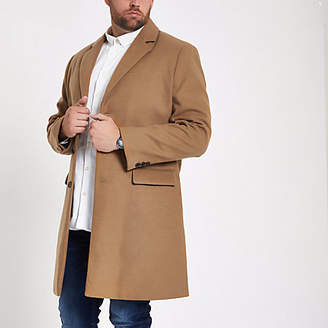 River Island Big and Tall camel button-down overcoat
