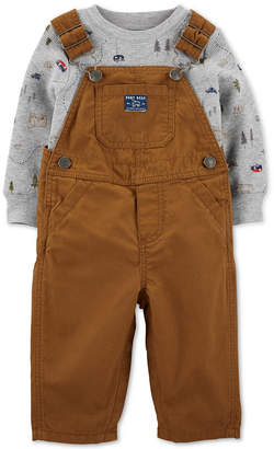 Carter's Carter Baby Boys 2-Pc. Cotton Camping-Print T-Shirt & Overalls Set
