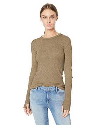 Enza Costa Women's Cashmere Long Sleeve Cuffed Crew Top with Thumbhole, S