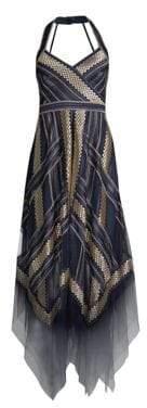 BCBGMAXAZRIA Metallic Striped Handkerchief Dress