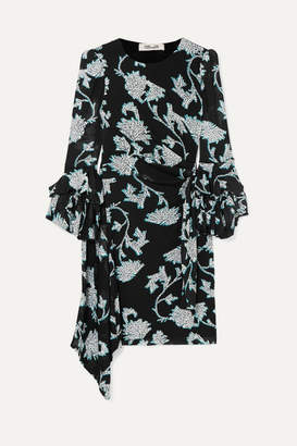 Diane von Furstenberg Faridah Ruffled Floral-print Stretch-voile Mini Dress