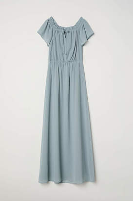 H&M Long Off-the-shoulder Dress - Light turquoise - Women