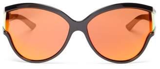 Balenciaga Ski Reflective Cat Eye Acetate Sunglasses - Womens - Orange