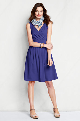 Lands' End Women's Petite Sleeveless Cotton Modal Fit and Flare Dress
