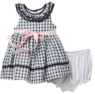 Laura Ashley Navy Gingham Chiffon Dres (Baby Girls 12-24M)