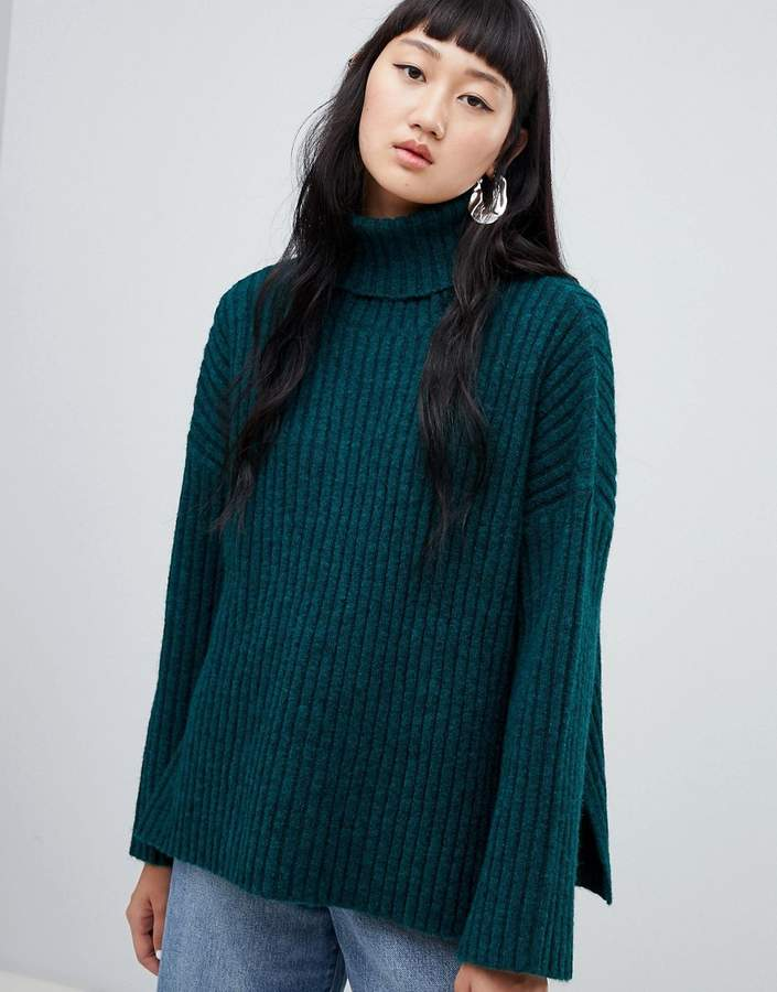 Ribbed Chunky Polo Neck with Side Splits