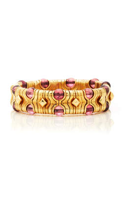 Bulgari Eleuteri Vintage Boules 18K Yellow Gold and Pink Tourmaline Bracelet