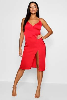 boohoo Satin Slip Wrap Detail Dress