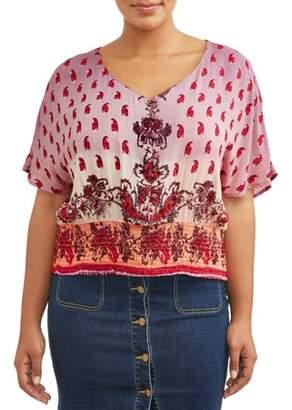 Romantic Gypsy Women's Plus Size V Neck Flutter Sleeve Smocked Bottom Blouse