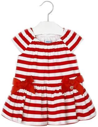 Mayoral Baby-Girl Red-White-Stripe-Poplin Dress