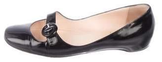 Christian Louboutin Patent Leather Square-Toe Flats