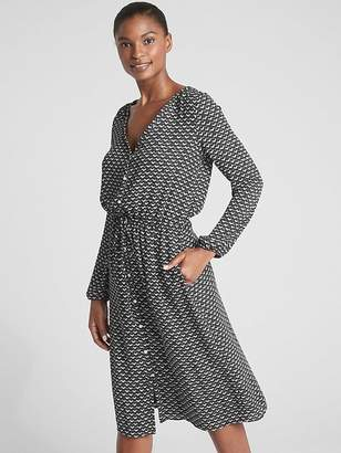 Gap Print Long Sleeve Button-Down Midi Dress