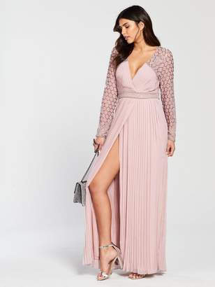 Frock And Frill Frock and Frill Belina Long Sleeve Pleated Skirt Maxi Dress