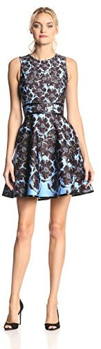 Cynthia Rowley Women's Floral-Bonded Sleeveless Dress with Full Skirt