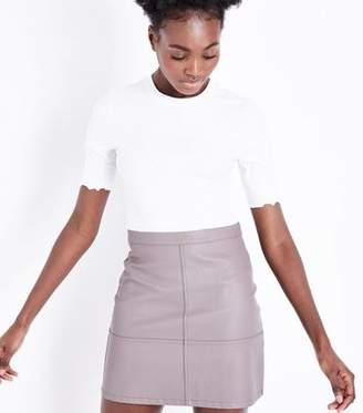 New Look Mink Leather-Look Mini Skirt