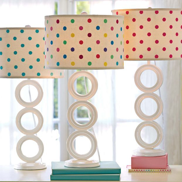 Circolo Lamp Base + Embroidered Dottie Shade