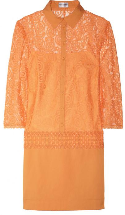 Lace and cotton-blend shirt dress
