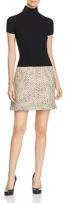 Paule Ka Knit & Natte Detail Mini Dress