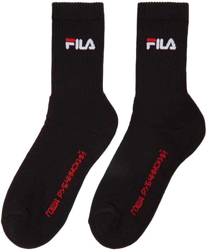 Gosha Rubchinskiy Black Fila Edition Logo Socks 2