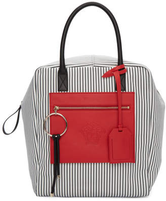 Versace Black and Red Large Canvas Striped Daydreamer Tote