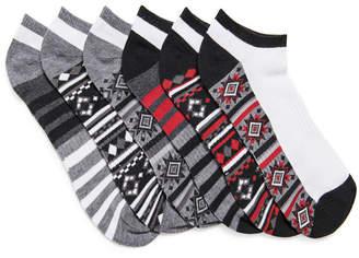 Muk Luks Men 6 Pair Pack No Show Compression Arch Socks