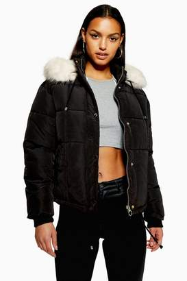 Topshop PETITE Faux Fur Lined Quilted Puffer Jacket