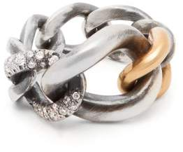hum Diamond, Sterling Silver & 18kt Gold Ring - Womens - Silver Gold
