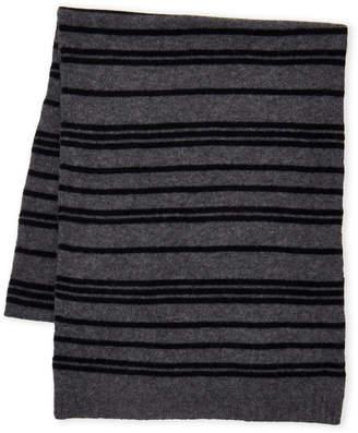 Qi Black & Charcoal Striped Cashmere Scarf