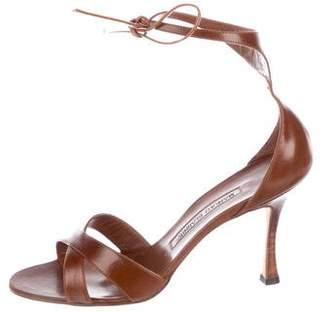 Manolo Blahnik Leather Mid-Heel Sandals w/ Tags