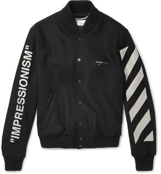 Off-White Printed Melton Virgin Wool-Blend Bomber Jacket