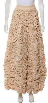 Calypso Ruched Maxi Skirt Beige Ruched Maxi Skirt