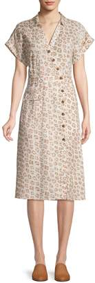 Joie Leopard Print Linen Button Front Dress