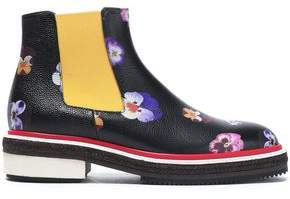 Christopher Kane Floral-Print Leather Ankle Boots